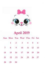 Cute April 2019 iPhone Wallpaper Calendar