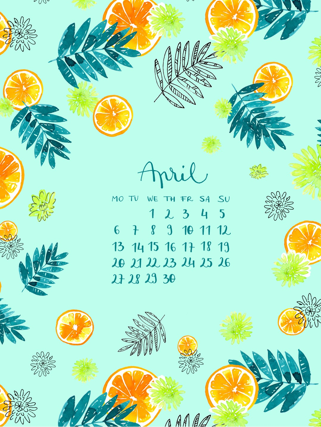 Cute April 2020 Calendar Design