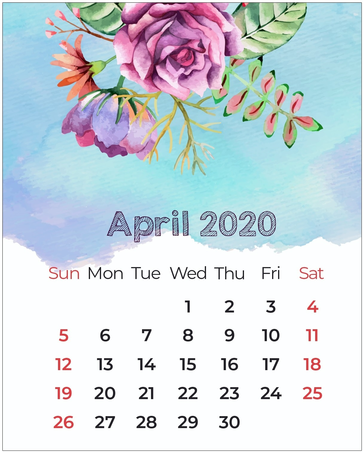Decorative April 2020 Cute Calendar