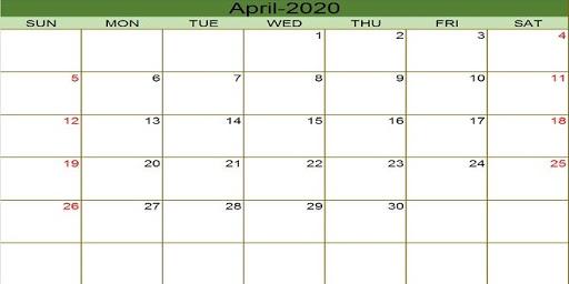 Editable 2020 April Calendar Blank Template