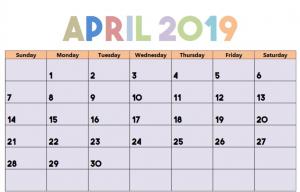 Editable April 2019 Calendar Blank Template