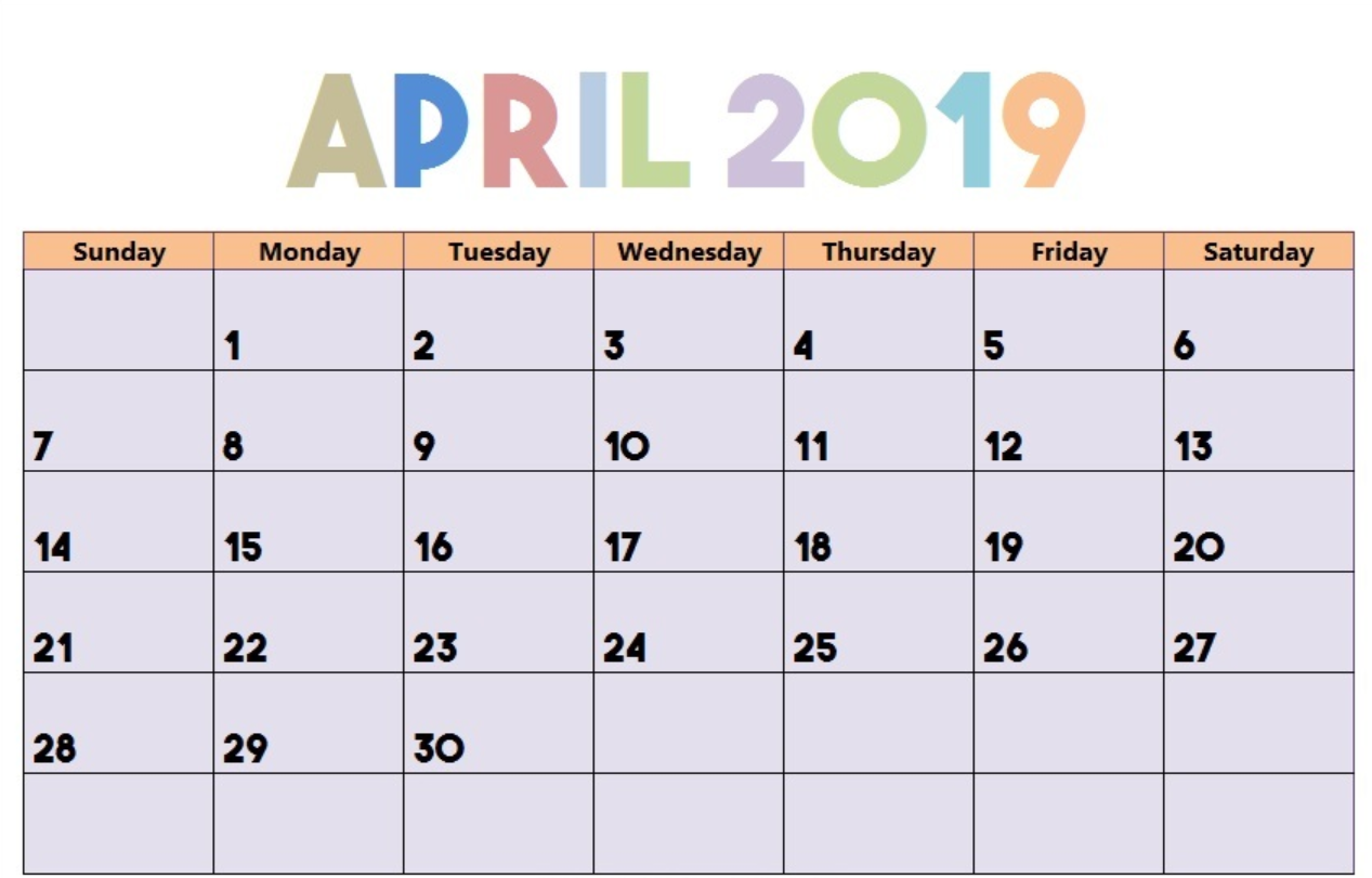 Editable April 2019 Calendar Blank Template
