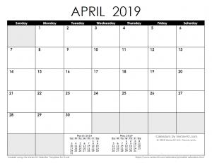Editable April 2019 Calendar PDF