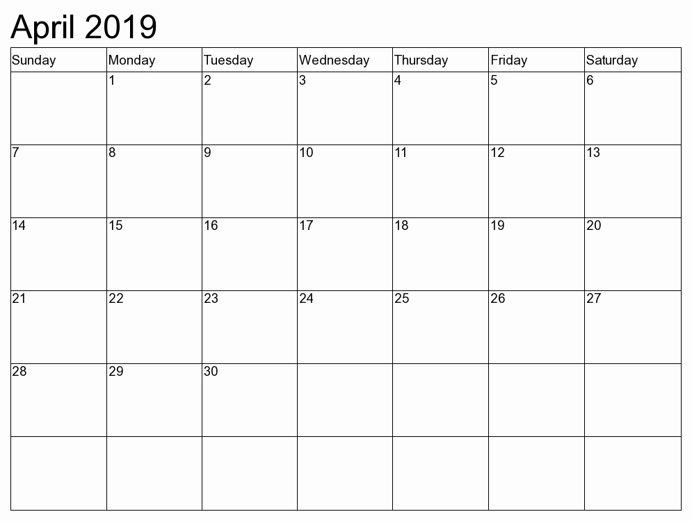 Editable April 2019 Calendar Template