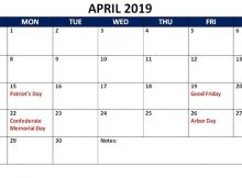 Editable April 2019 Calendar With Holidays