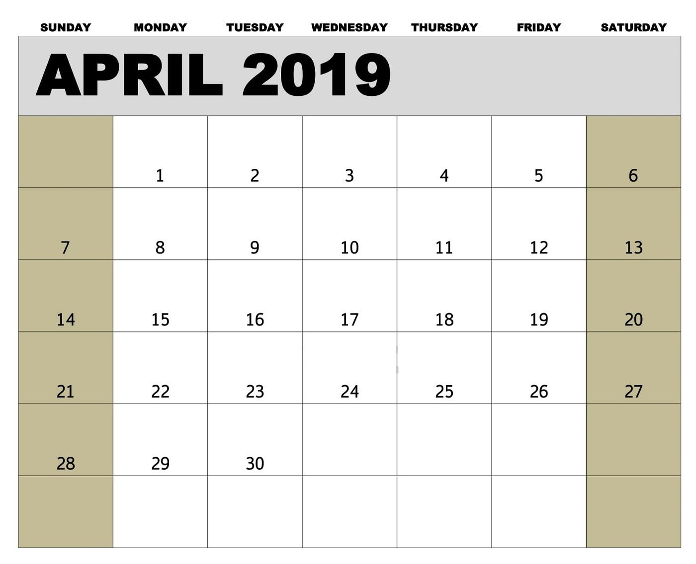 Editable April 2019 Calendar Word