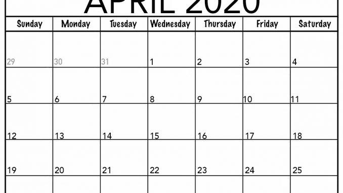 Editable April 2020 Calendar Printable