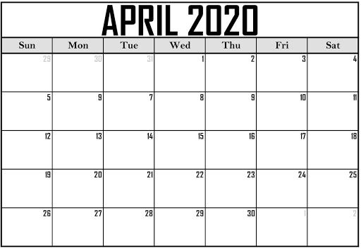 Editable April 2020 Calendar Template