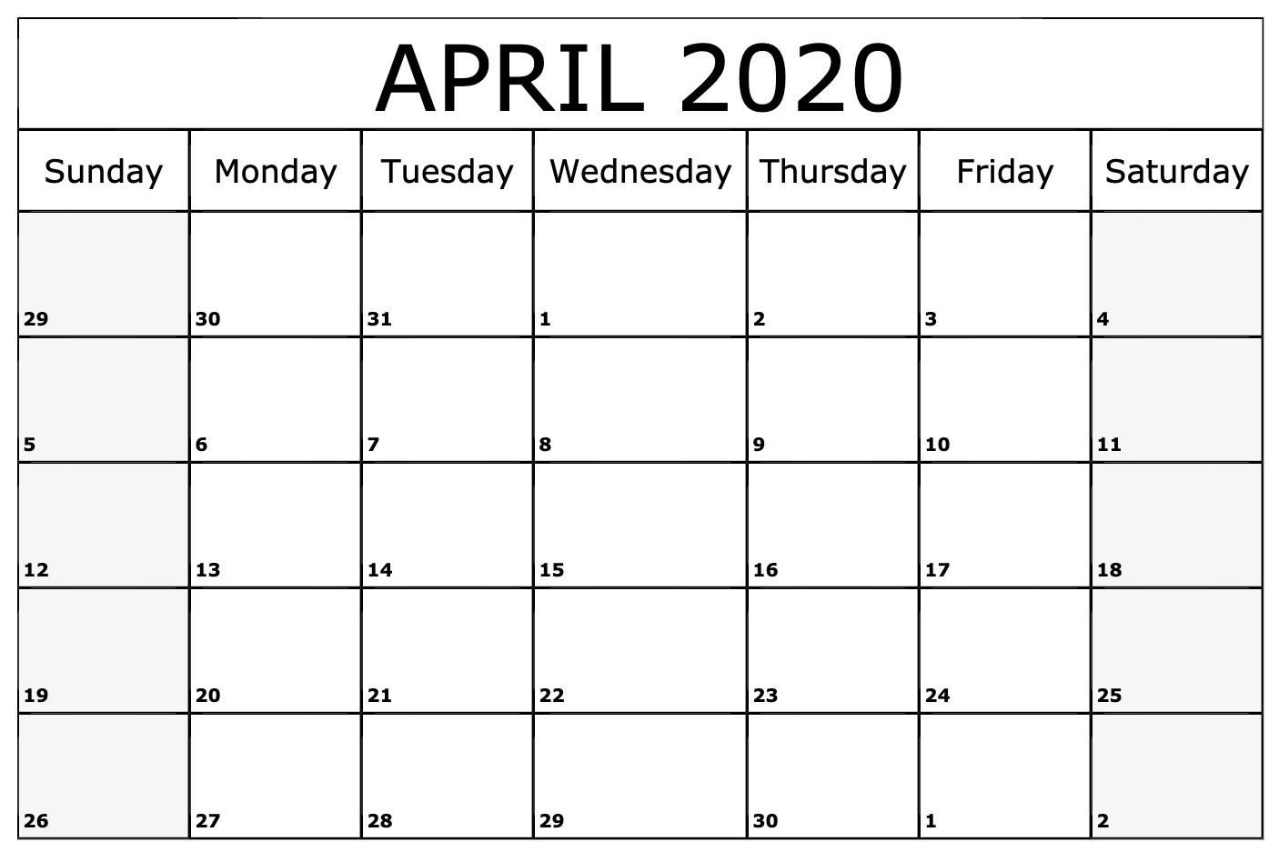 Editable April 2020 Calendar with Holidays