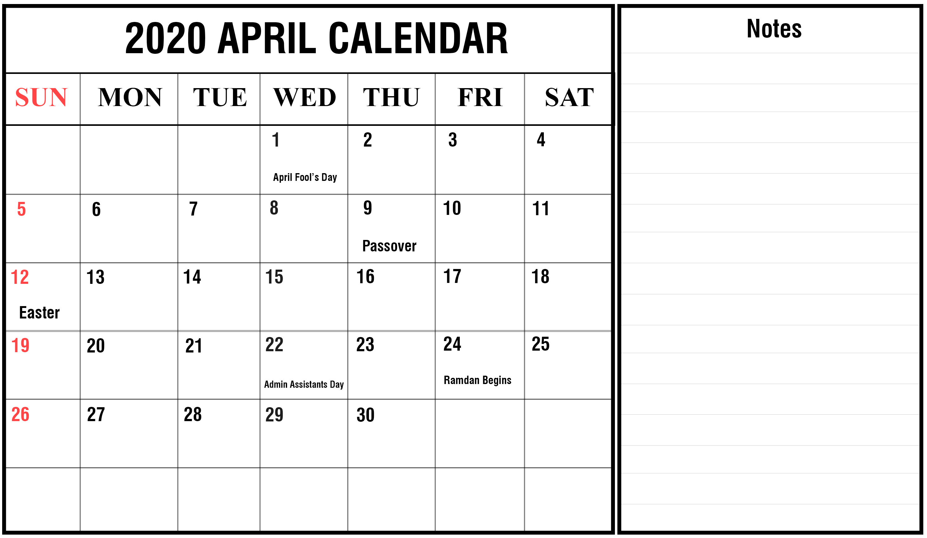 Editable April 2020 Calendar with Notes