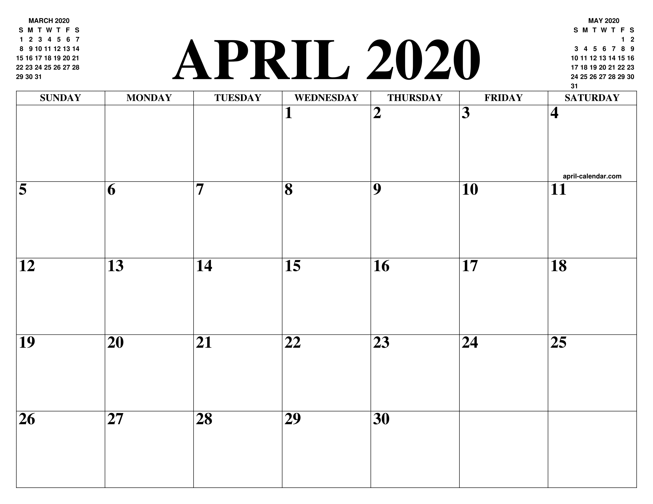 Editable April 2020 Printable Monthly Calendar