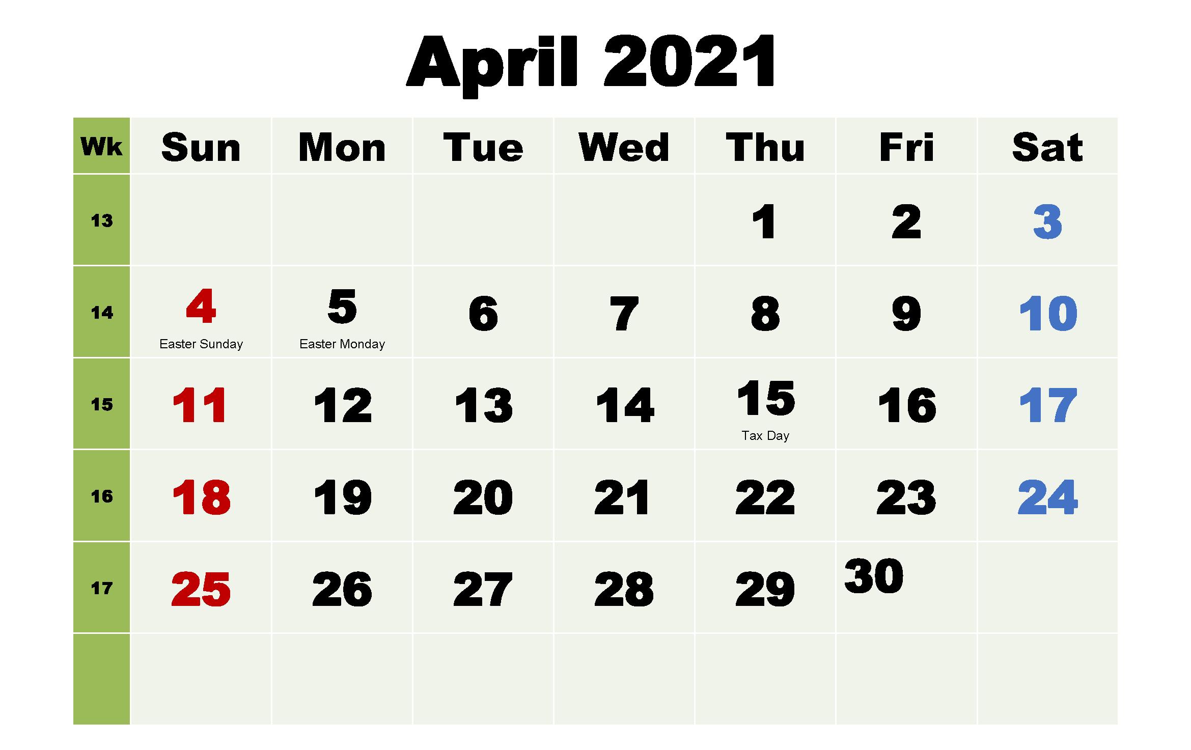 Editable April 2021 Printable Calendar
