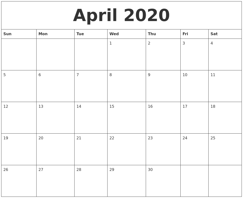 Fillable April 2020 Calendar Editable Template