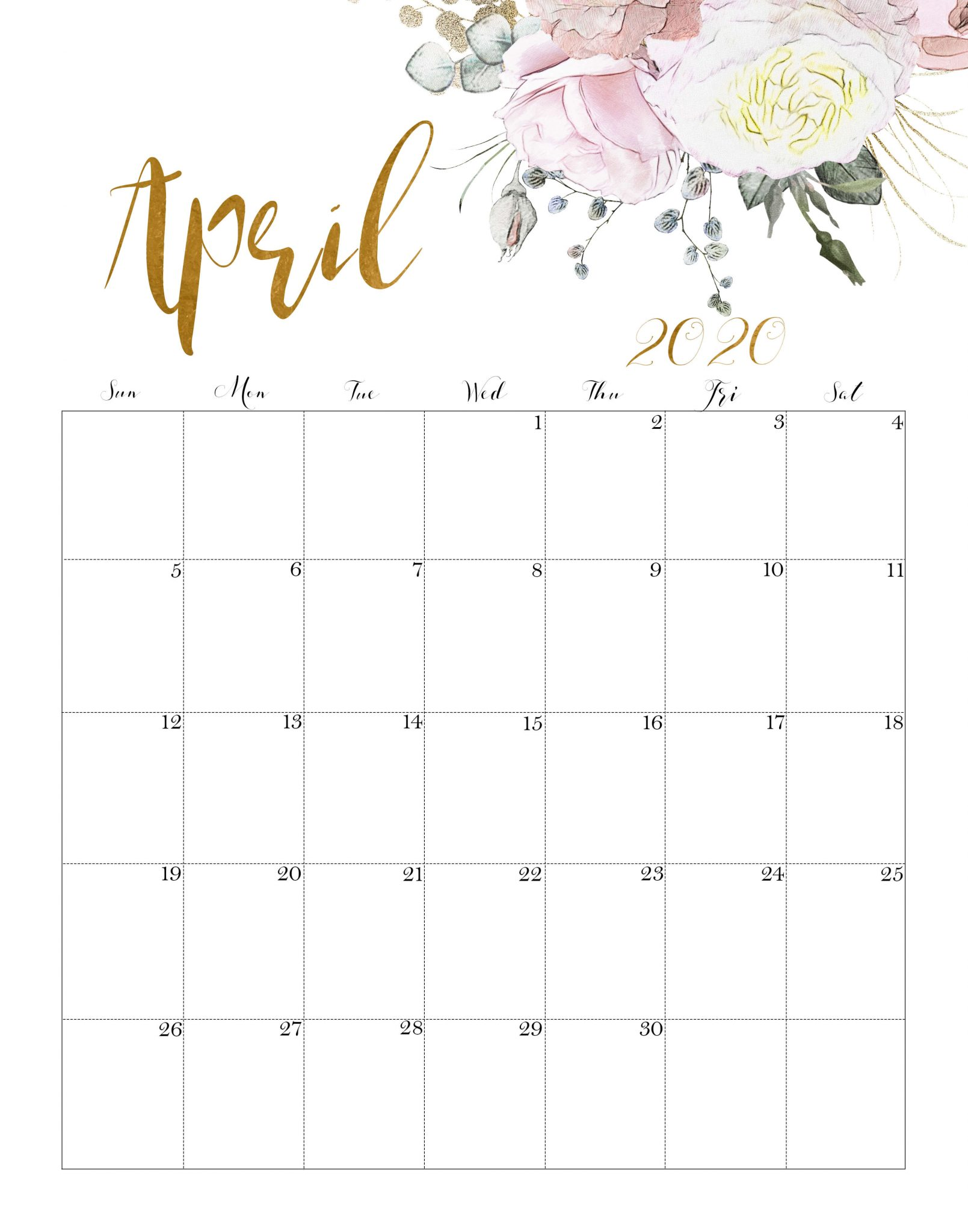 Floral April 2020 Calendar Printable