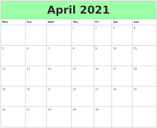 Free April 2021 Printable Blank Calendar