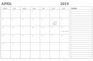 Free Blank April 2019 Calendar