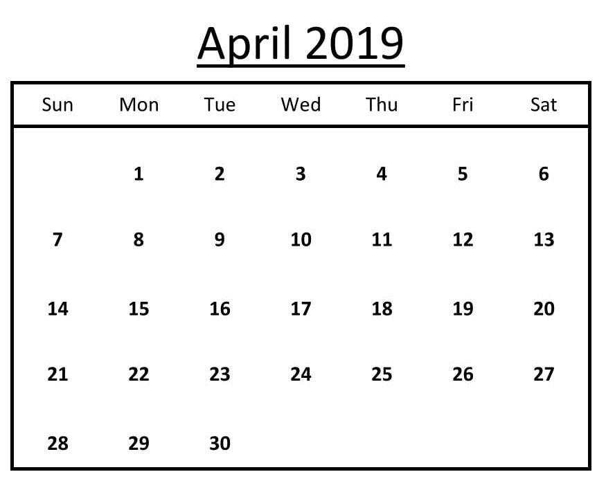 Free Printable April 2019 Calendar Template