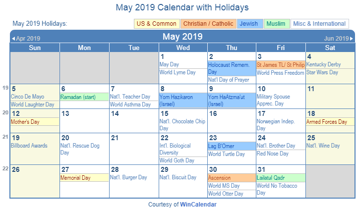 Holidays Calendar For May 2019