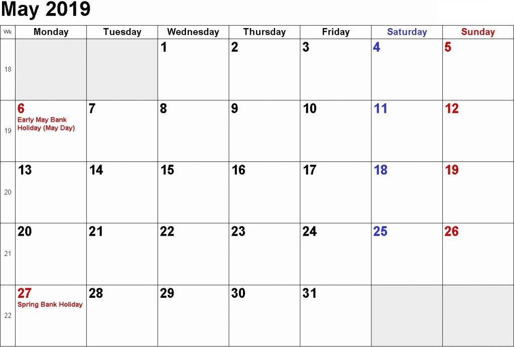 May 2019 Blank Calendar With Holidays