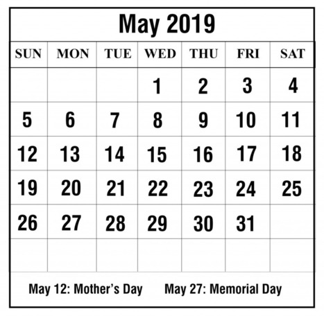 May 2019 Calendar With Holidays Australia