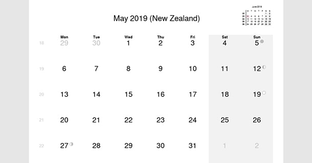 May 2019 Calendar With Holidays New Zealand