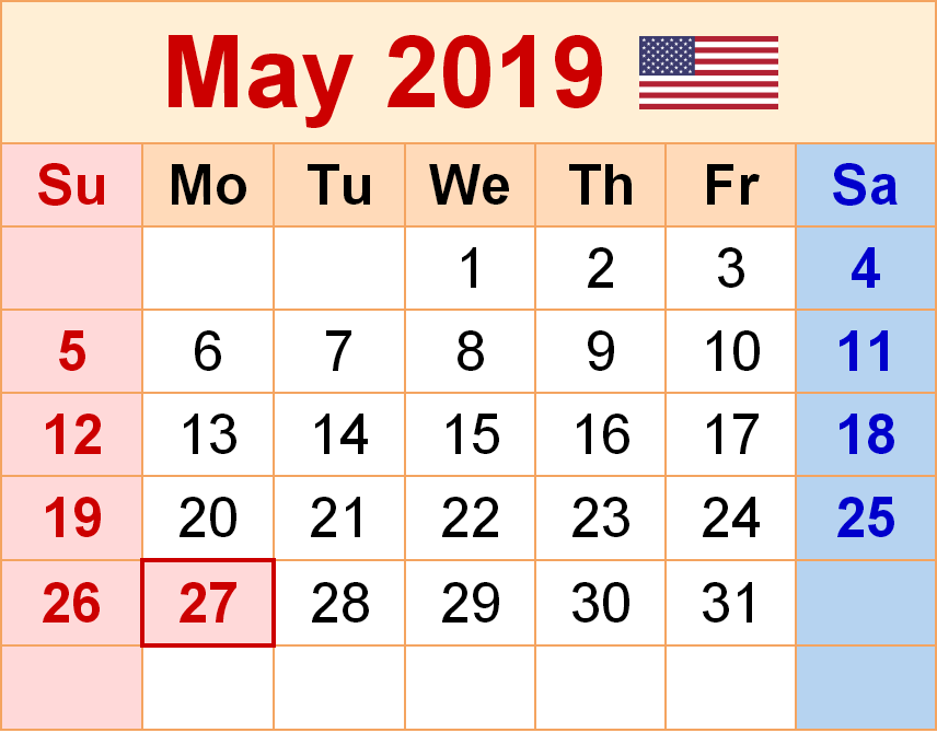 May 2019 Calendar With Holidays Usa Free Printable