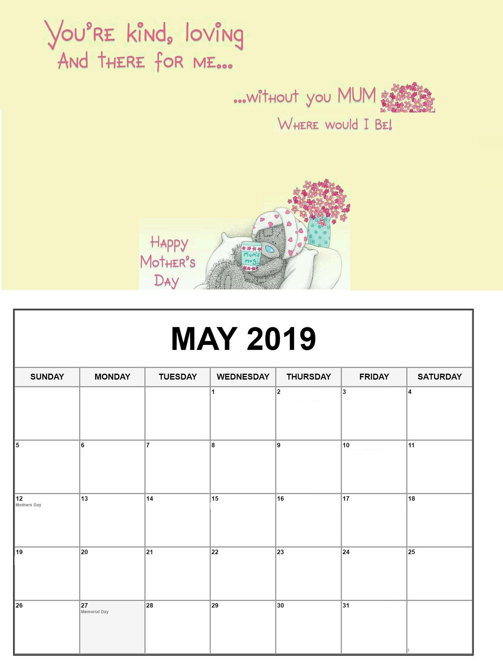 May 2019 Federal Holidays Calendar