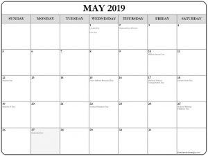 May 2019 Holidays Calendar Template