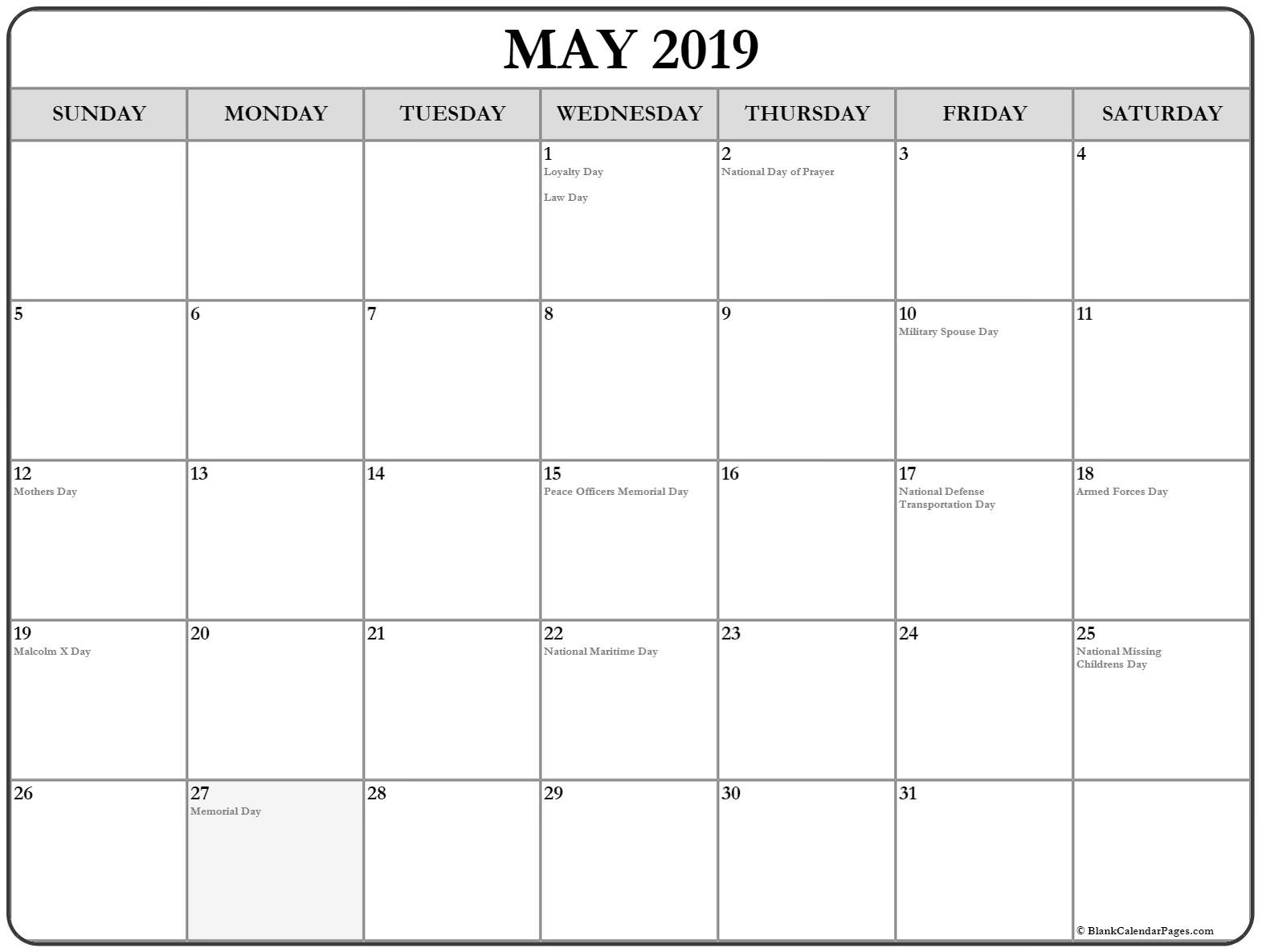 May 2019 Holidays Calendar Template - Free Printable