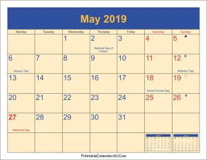 May 2019 Holidays Calendar With Moon Phases