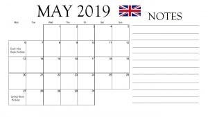 May 2019 With UK Holidays Calendar