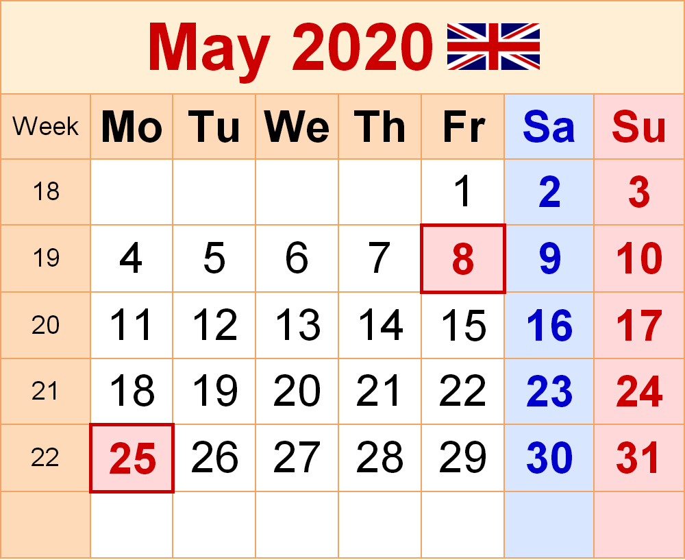 May 2020 Calendar UK with Holidays