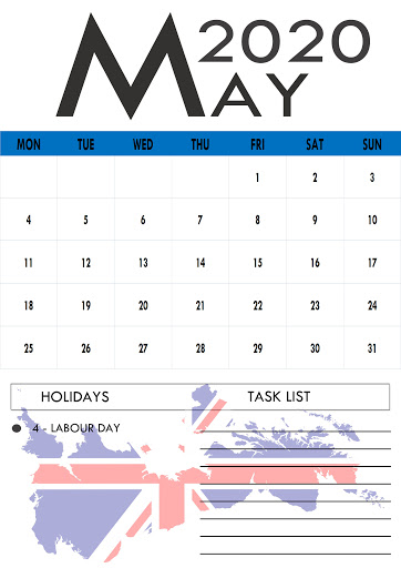 May 2020 Calendar with Holidays Australia