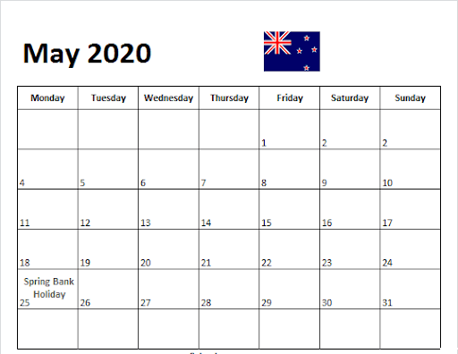 May 2020 Calendar with New Zealand
