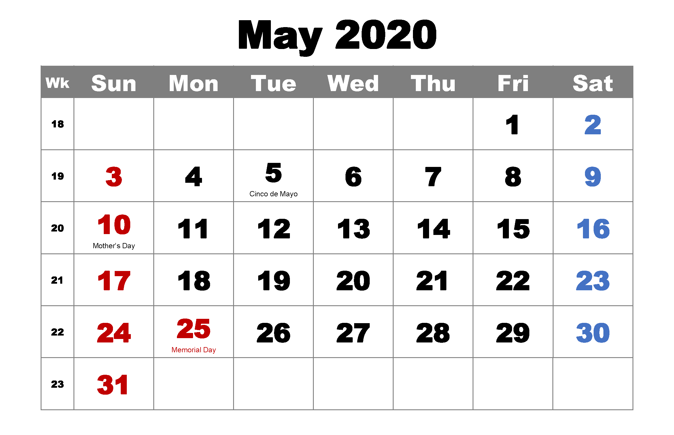 May 2020 Holidays Calendar Template