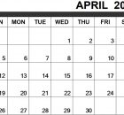 Monthly Blank April 2020 Printable Calendar Template
