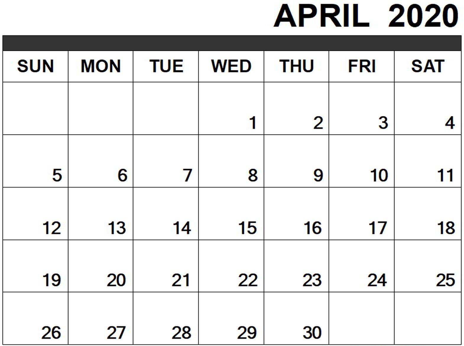 Monthly Blank April 2020 Printable Calendar Template