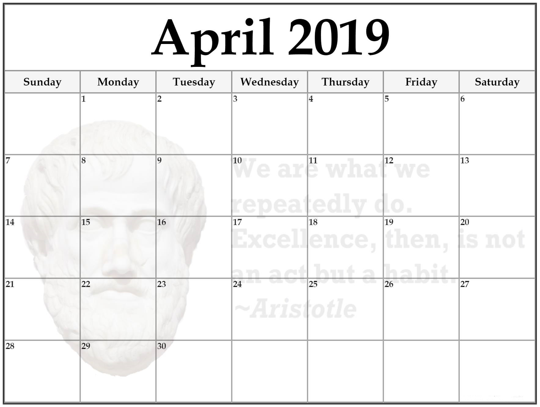Monthly Blank Calendar for April 2019