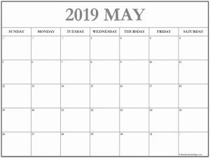 Print Blank May 2019 Calendar