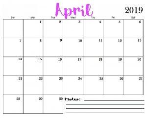Printable April 2019 Calendar Editable