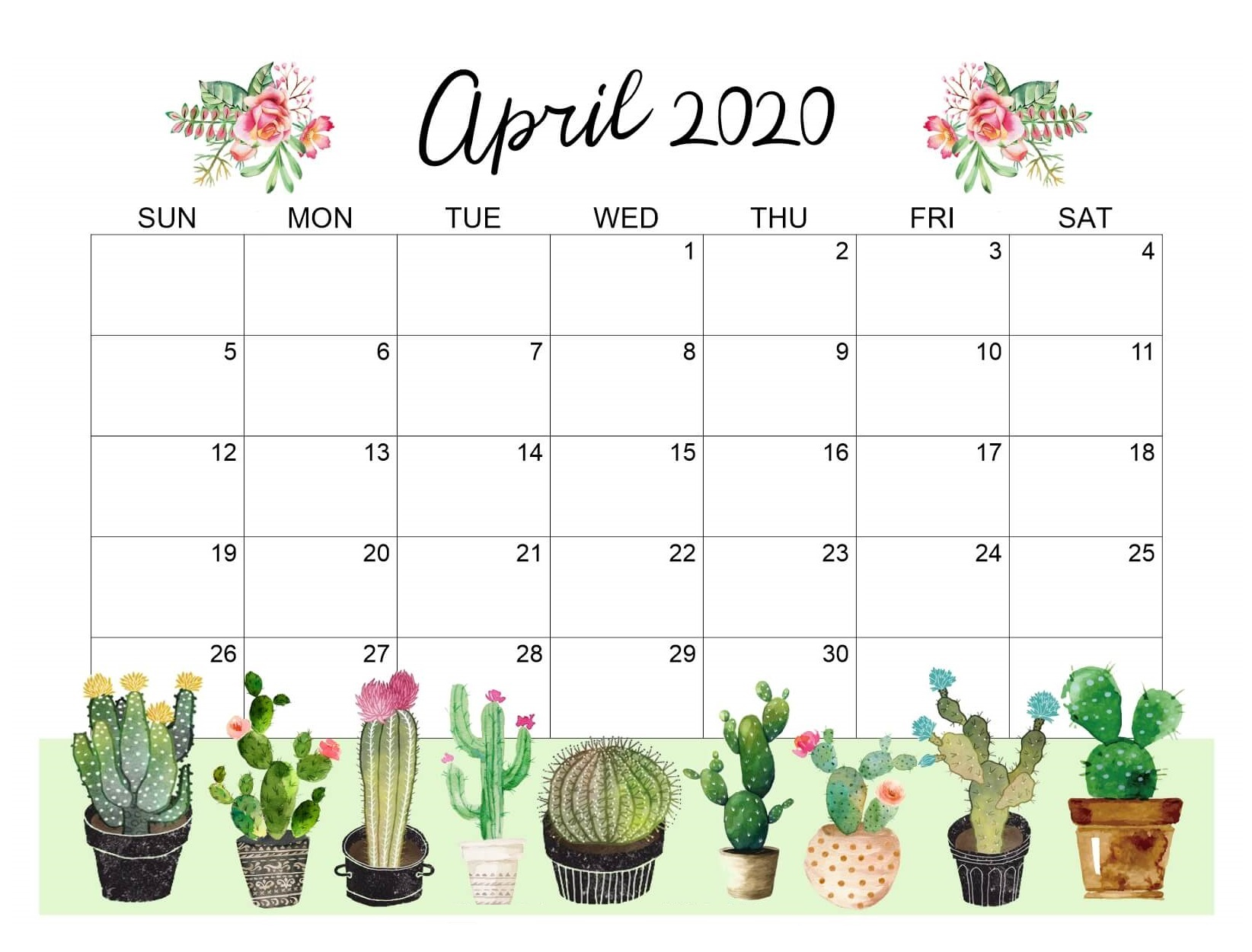 Printable April 2020 Cute Calendar