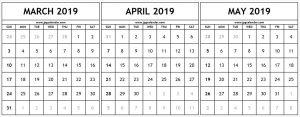 Printable March April May 2019 Calendar
