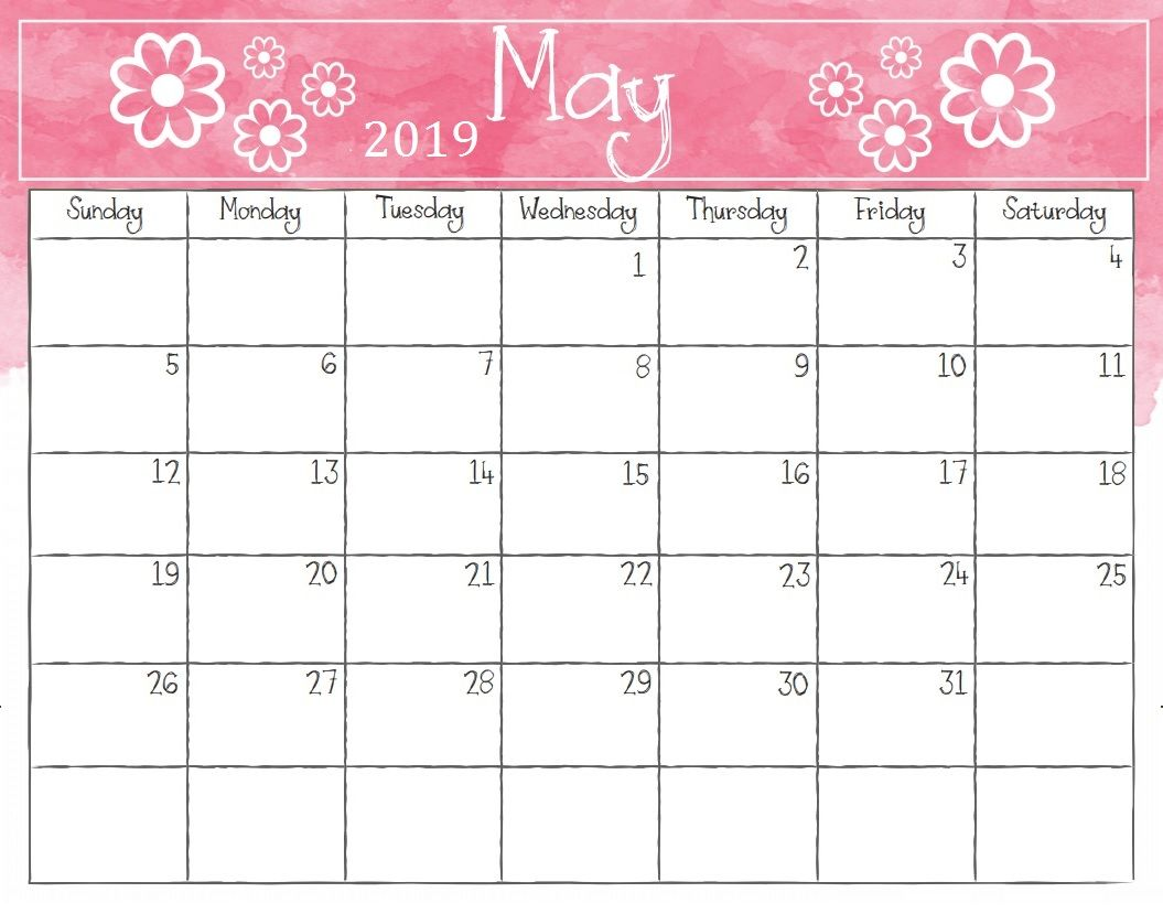 Printable May 2019 Calendar By Month