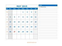 Printable May 2019 Calendar With Notes