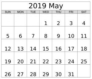 Printable May 2019 Editable Calendar
