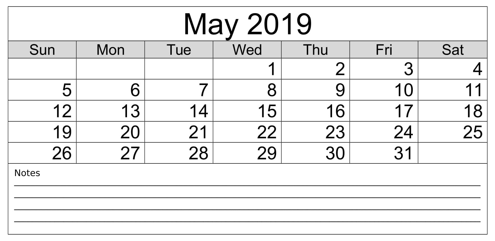 Printable May 2019 Landscape Calendar