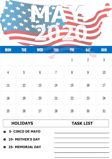 USA Holidays Calendar May 2020