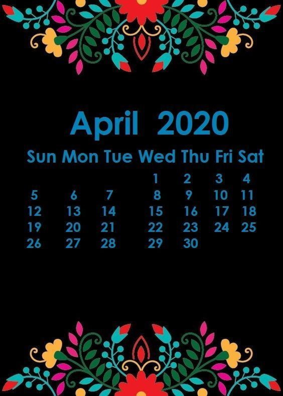 iPhone April 2020 Calendar