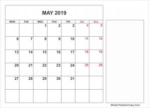 2019 Printable May Calendar Notes Full