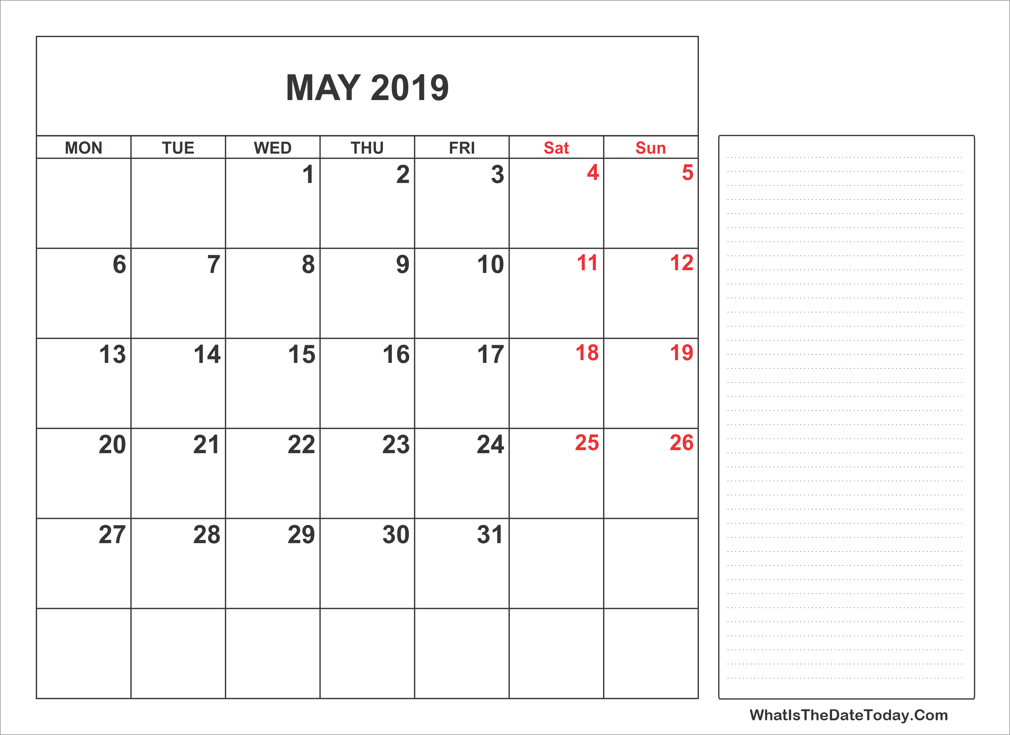 2019 Printable May Calendar Notes Full